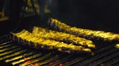 dana eti : Appetizing ribs on the grill, cooking barbecue meat, juicy lamb ribs with grilled crust on the grill Stok Video