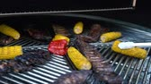 kuzu : Lamb Ribs and Vegetables on a Rotating Grill, meat and corn on a barbecue, 4K