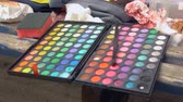 sombras : Palette for professional make-up, close-up Stock Footage