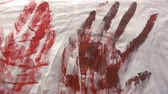 terrível : Prints of bloody hands on a medical dressing gown, halloween