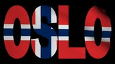 norueguês : Oslo text with fluttering flag animation Stock Footage
