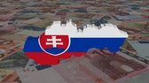 Словакия : Slovakia map flag with scrolling Euros animation