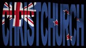 christchurch : Christchurch text with fluttering flag animation