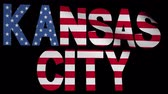 kansas : Kansas City text with fluttering flag animation
