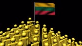 litwa : Zooming out from pyramid of men with Lithuania flag animation Wideo