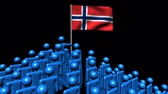 norueguês : Zooming out from pyramid of men with Norway flag animation