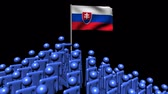 Словакия : Zooming out from pyramid of men with Slovakia flag animation