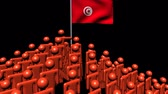tunisian flag : Zooming out from pyramid of men with Tunisia flag animation Stock Footage