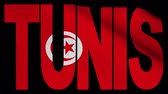 tunisian flag : Tunis text with fluttering flag animation