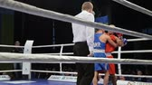 LVIV, UKRAINE - November 14, 2017 Boxing tournament. Midweight boxers fight in boxing ring on tournament. Steadycam shot.