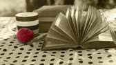 yellow : Wind turn old Book Pages on the table in sepia colors Stock Footage