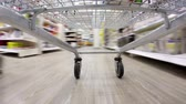 timelapse : Crazy fast speed of supermarket trolley Stock Footage