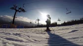 first : Young skier - first steps.  Hight Definition Video : 29.97 FPS 20sec    Stock Footage