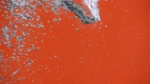 hue : Air bubbles in the pouring water splash on orange background