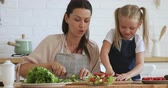 školka : Young mother teaching explaining cute kid daughter learning cooking hold knife cut fresh vegetable salad in kitchen, happy family little child girl helping mom prepare healthy food together at home