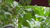 bugiganga : A medium shot of a chain with rain and a leafy background.