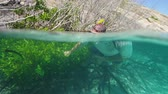 A tracking shot underwater of a diver swimming close to mangroves. Some mangroves are dead while some are green and healthy.