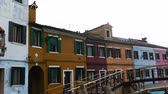den : BURANO, ITALY - JANUARY 25, 2016: View of Burano, Italy, an island with colorful architecture in the Venetian Lagoon. 4 K