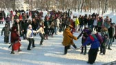 winter : Round dance on a holiday Stock Footage