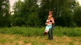 playful : mom daughter, rotation Stock Footage