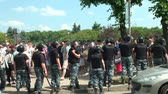 riot control : Police at the rally to keep order Stock Footage