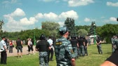 full armor : Police at the rally to keep order Stock Footage
