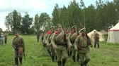 first : The guard of  Russian soldiers. The first world war. WWI. 1914-1918. Shot in 4K (ultra-high definition (UHD)), so you can easily crop, rotate and zoom, without losing quality!  Real time.