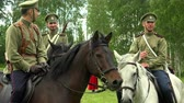 first : Russian soldiers on horseback. WWI. 1914-1918. Shot in 4K (ultra-high definition (UHD)), so you can easily crop, rotate and zoom, without losing quality!  Real time. Stock Footage
