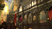 Болгария : The Cathedral of the Assumption in Varna, Bulgaria. The interiors of the temple.  Стоковые видеозаписи