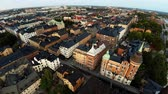 estuque : Aerial view. Stockholm. Old houses, buildings and streets. City center. Sweden. Shot in 4K (ultra-high definition (UHD).