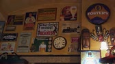 Wall bar with vintage posters. 4K.