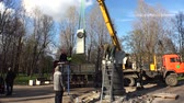 Installation of the monument on a pedestal. 4K.