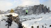 slackline : Extreme sport in the mountain shot with drone Stock Footage