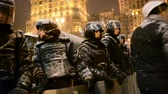 independence : Riot police cordon Euro maidan meeting in Kiev, Ukraine on December 12, 2013. Meeting devoted to declining of Ukraine for integration to the European Union.  Stock Footage