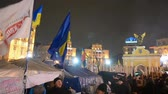 independence : Protesters during Euro maidan meeting in Kiev, Ukraine on December 12, 2013. Meeting devoted to declining of Ukraine for integration to the European Union.  Stock Footage