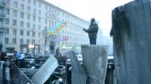 independence : Barricade, protesters near Valeriy Lobanovskyi Dynamo Stadium during Euro maidan meeting in Kiev, Ukraine on January 21, 2014 devoted to declining of Ukraine for integration to the European Union. Stock Footage