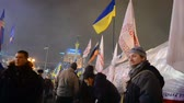 conceptual : Barricade during Euro maidan meeting in Kiev, Ukraine on December 12, 2013 devoted to declining of Ukraine for integration to the European Union. Stock Footage