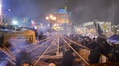 conceptual : protesters during Euro maidan meeting in Kiev, Ukraine on December 12, 2013. Meeting devoted to declining of Ukraine for integration to the European Union.