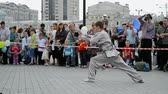 quimono : KIEV - JUNE 01: Sports exhibition 2014 - kids sport festival on June 01, 2014 in Kiev, Ukraine.