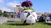 olympiáda : KIEV - MAY 21: Large ball as UEFA Champions League Final Symbols on May 21, 2018 in Kiev, Ukraine . FC Real Madrid and FC Liverpool Final game take place on May 26, 2018.