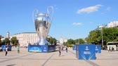 reflected : KIEV - MAY 23: UEFA Champions League Final 2018 CUP Symbol on May 23, 2018 in Kiev, Ukraine. FC Real Madrid and FC Liverpool Final game take place on May 26, 2018. Stock Footage