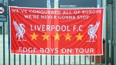 stowarzyszenie : Liverpool banner as UEFA Champions League Symbol on May 25, 2018 in Kiev, Ukraine.