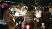 independence : Night Traffic in Ho Chi Minh City, Vietnam Stock Footage