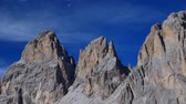 sella : Mountain scenery Langkofel Group, Grohmannspitze Mountain, left, Fuenffingerspitze or Five Finger Peak, center, Langkofel Mountain, right, summit of Sella Pass, Dolomites, Alto Adige, Italy, Europe Stock Footage