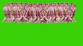 butchered : Raw Meat Hanged on a Green Screen Background Stock Footage