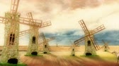 história em quadrinhos : Don Quixote Riding on his Horse and Charge Windmills on a Beautiful Day