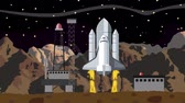 spacecraft : Space Shuttle Launch from a Space Launching Station at Night Stock Footage