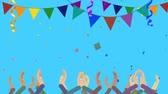 idéia genial : Cartoon Crowds Clapping in Party with Confetti Vídeos