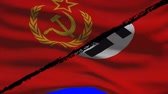 normandia : World War 2 Soviet Russia VS Nazi Germany Flags on a Green Screen Stock mozgókép