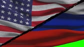 válság : America Vs Russia Flags on a Green Screen